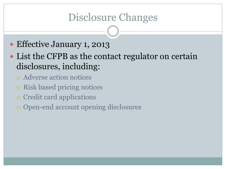 Disclosure Changes