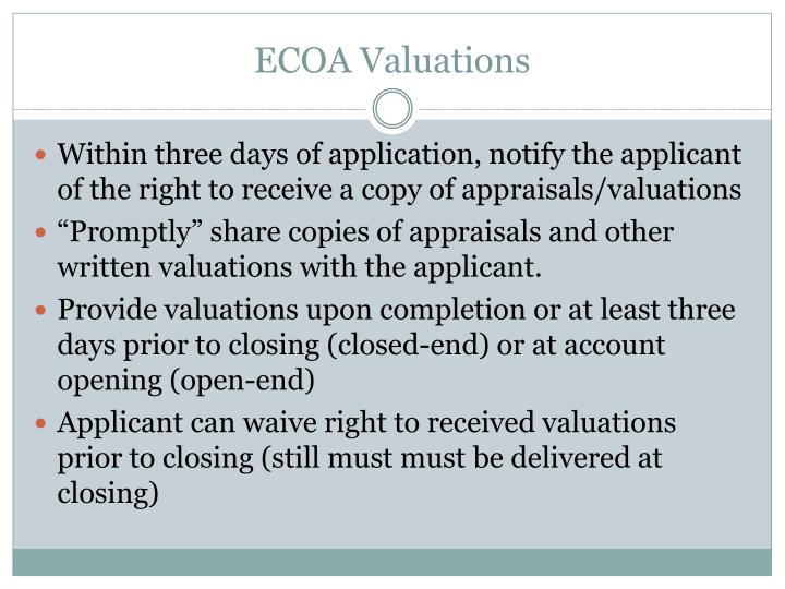 ECOA Valuations