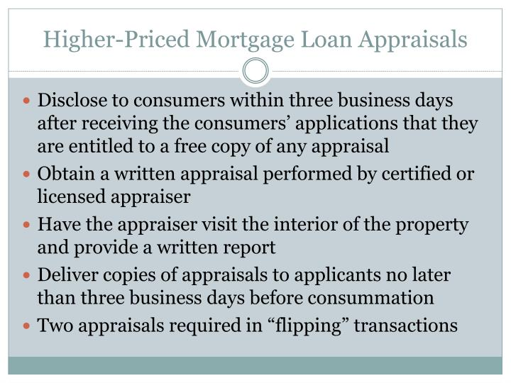 Higher-Priced Mortgage Loan Appraisals