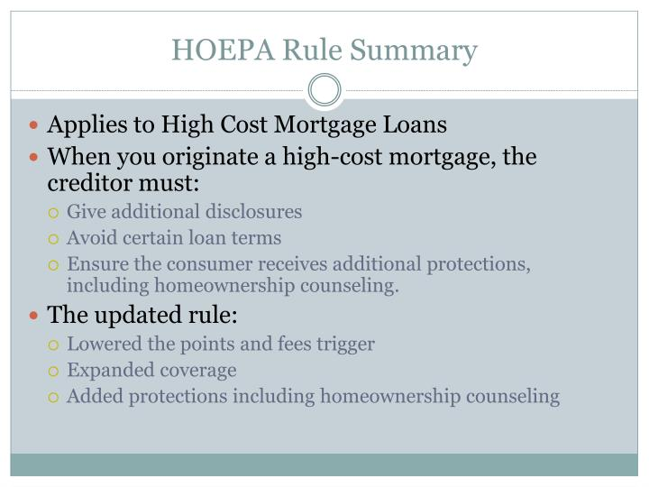 HOEPA Rule Summary