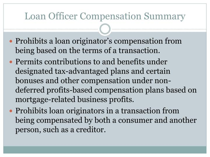 Loan Officer Compensation Summary