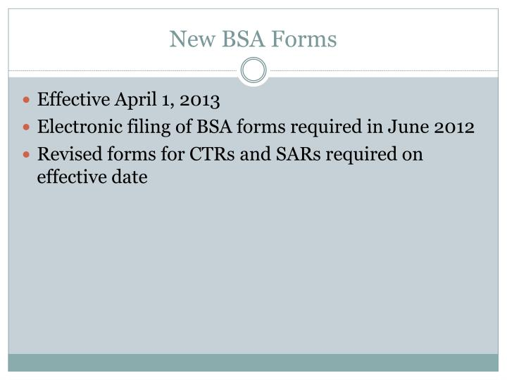 New BSA Forms