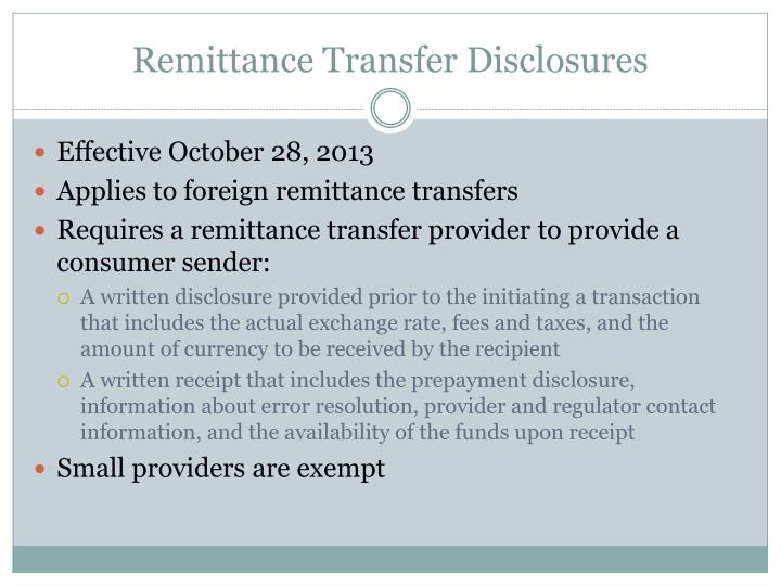 Remittance Transfer Disclosures