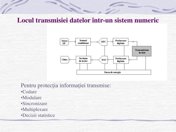 Locul transmisiei datelor într-un sistem numeric
