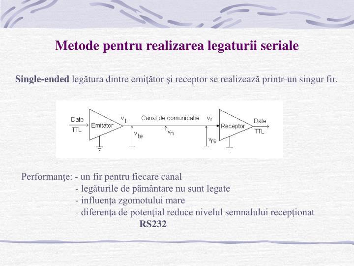 Metode pentru realizarea legaturii seriale