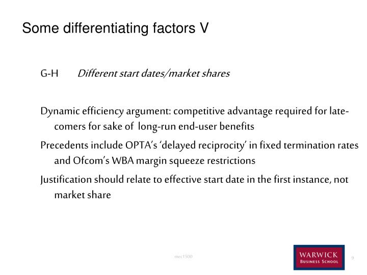 Some differentiating factors V