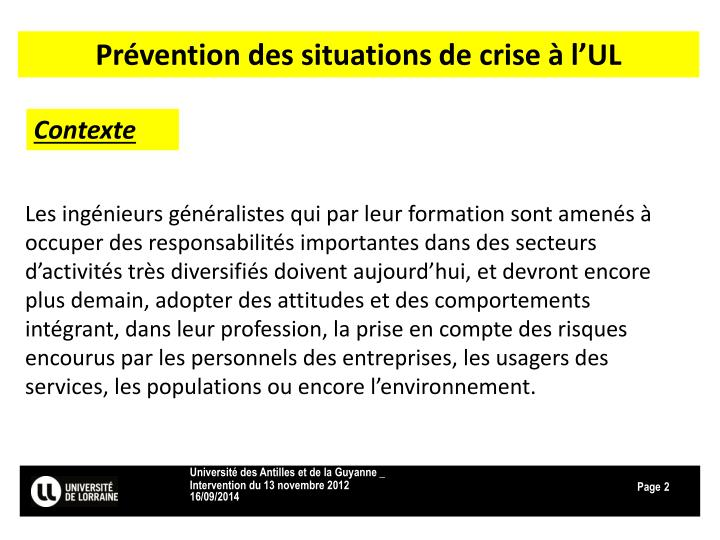 Prévention des situations de crise à l'UL