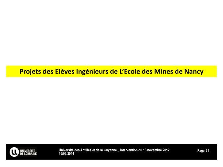 Projets des Elèves Ingénieurs de L'Ecole des Mines de Nancy