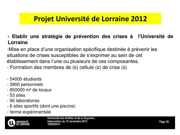 Projet Université de Lorraine 2012