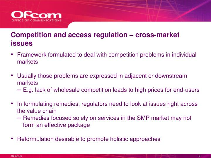 Competition and access regulation – cross-market issues