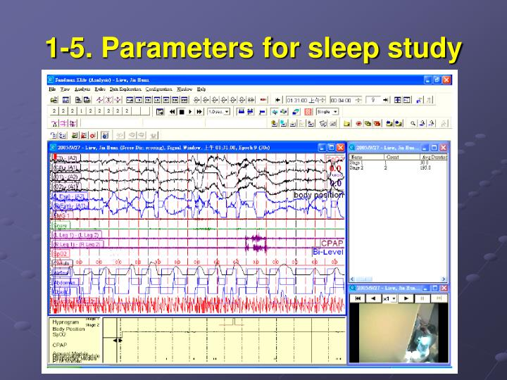 1-5. Parameters for sleep study