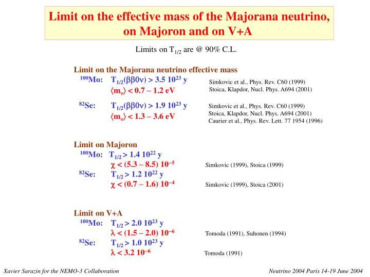 Limit on the Majorana neutrino effective mass