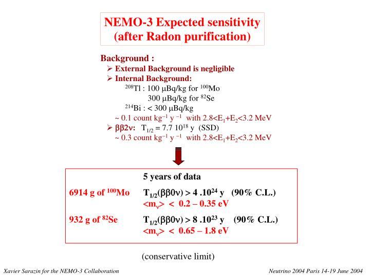 NEMO-3 Expected sensitivity