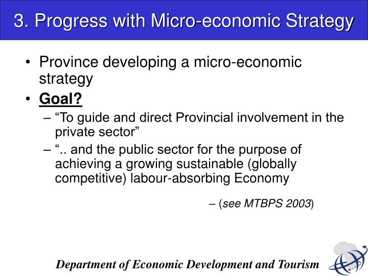 3. Progress with Micro-economic Strategy