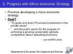3 progress with micro economic strategy
