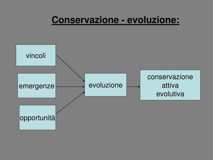 Conservazione - evoluzione: