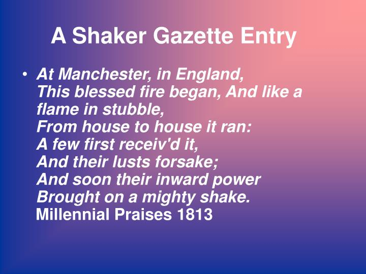 A Shaker Gazette Entry