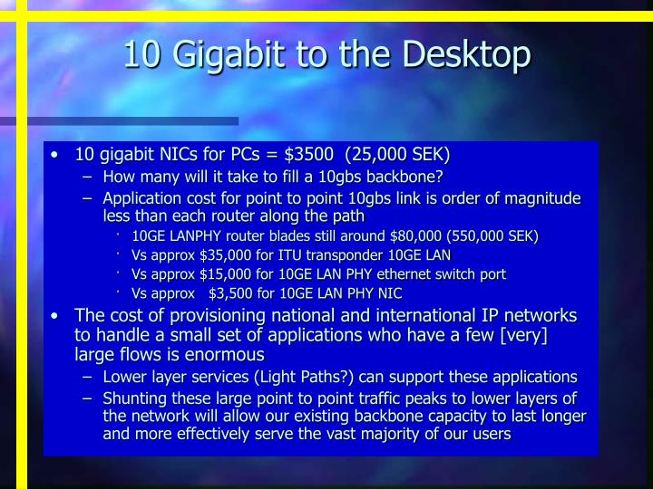10 Gigabit to the Desktop