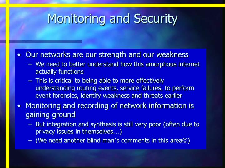 Monitoring and Security