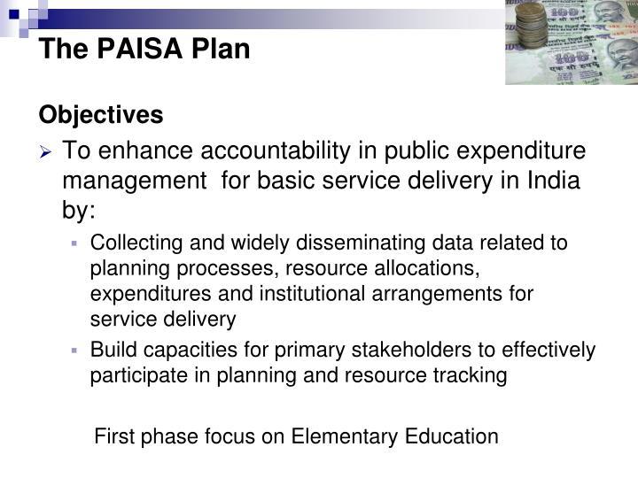 The PAISA Plan