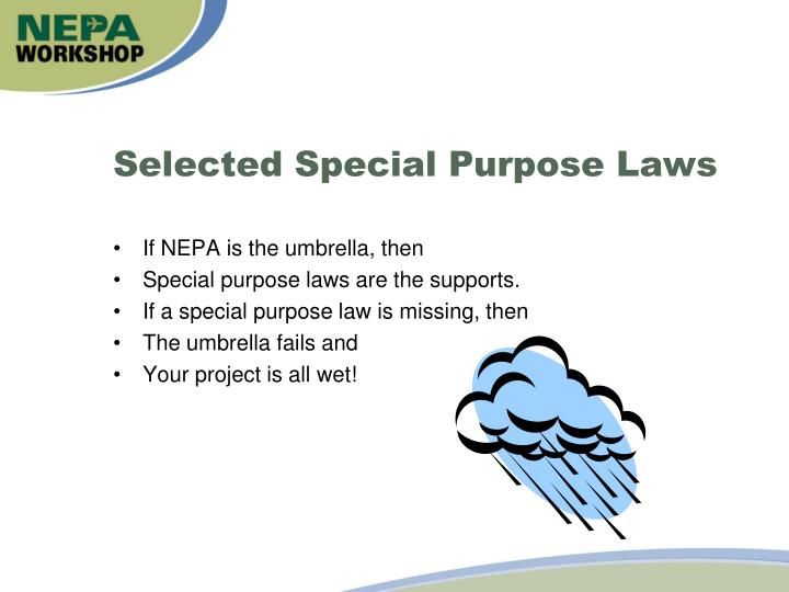 Selected Special Purpose Laws