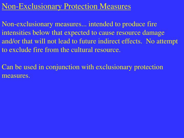Non-Exclusionary Protection Measures