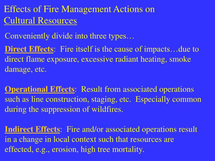 Effects of Fire Management Actions on