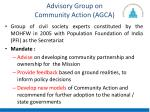advisory group on community action agca