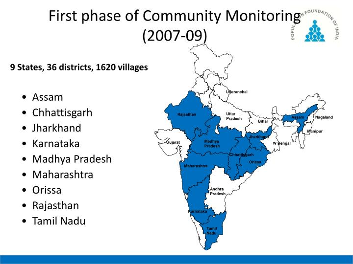 First phase of Community Monitoring