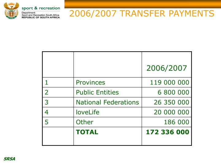 2006/2007 TRANSFER PAYMENTS