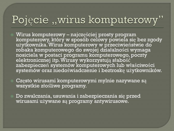 """Pojęcie """"wirus komputerowy"""""""