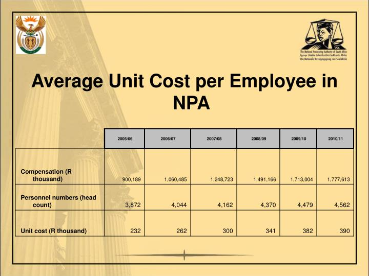 Average Unit Cost per Employee in NPA