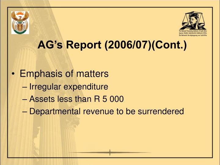 AG's Report (2006/07)(Cont.)