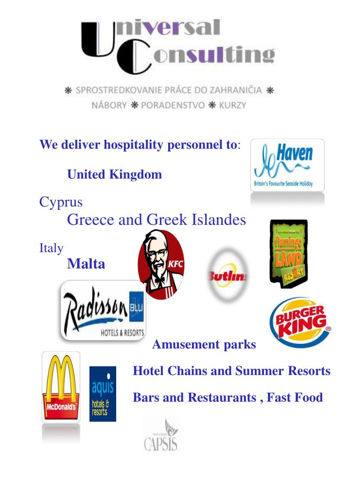 We deliver hospitality personnel to