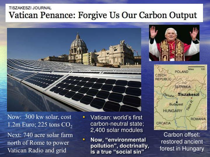 Vatican: world's first carbon-neutral state; 2,400 solar modules