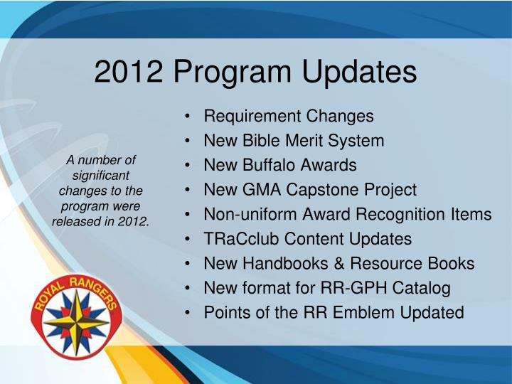 2012 Program Updates