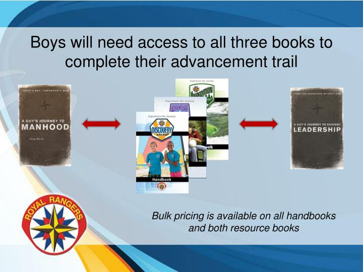 Boys will need access to all three books to complete their advancement trail
