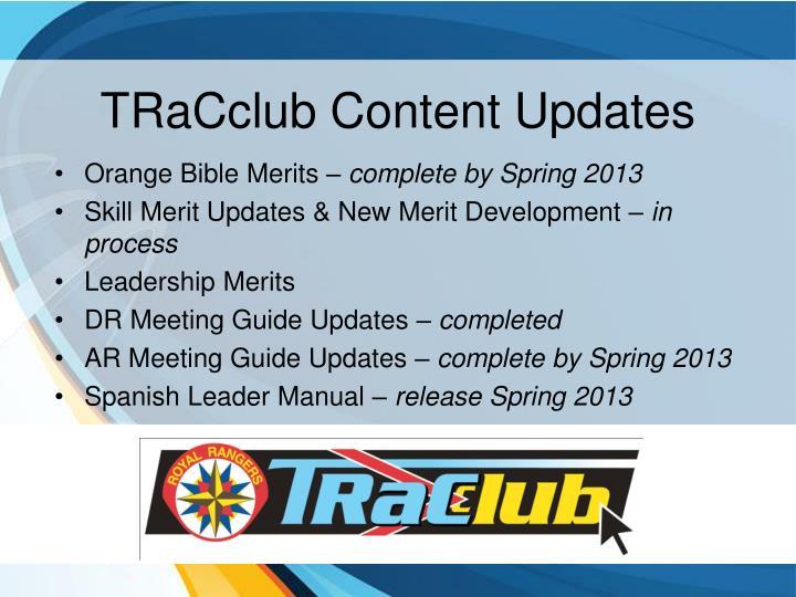 TRaCclub Content Updates