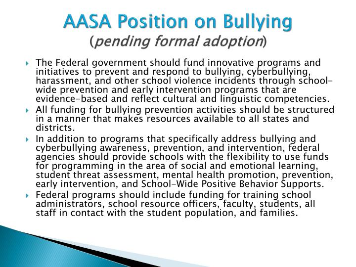 AASA Position on Bullying