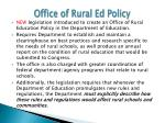 office of rural ed policy