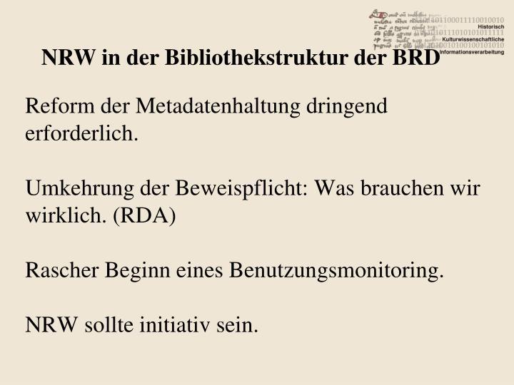 NRW in der Bibliothekstruktur der BRD