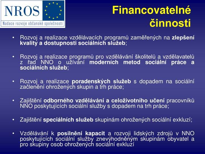 Financovatelné