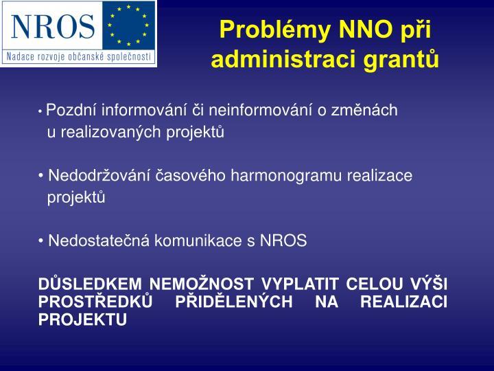 Problémy NNO při administraci grantů