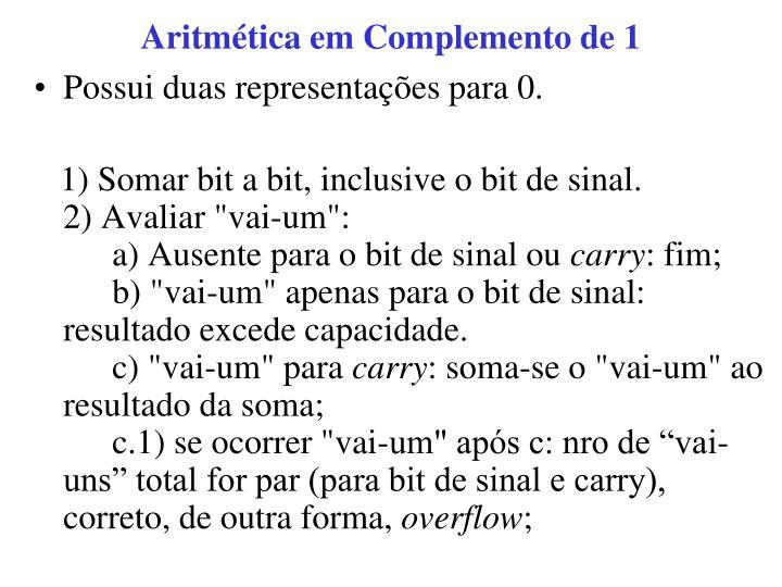 Aritmética em Complemento de 1