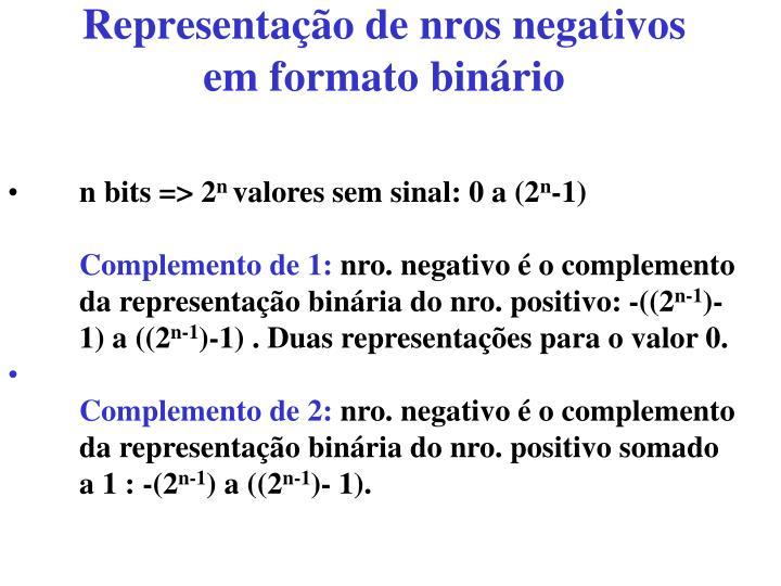 Representação de nros negativos em formato binário