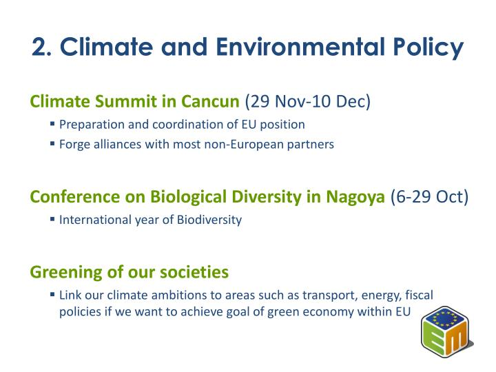2. Climate and Environmental Policy