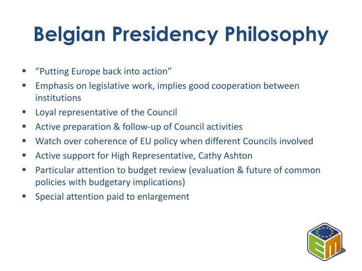 Belgian presidency philosophy