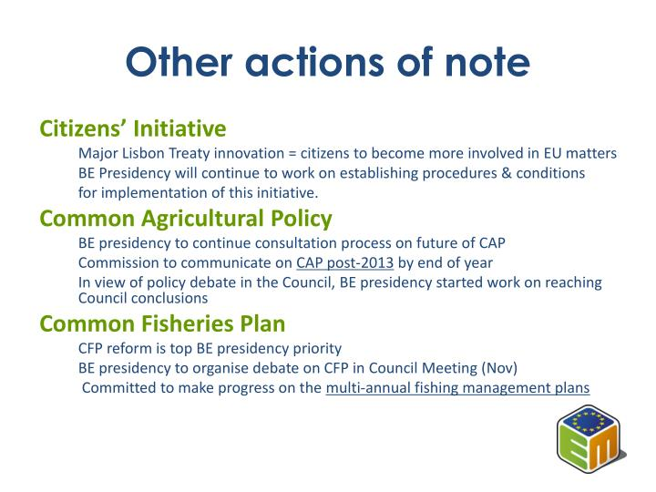 Other actions of note