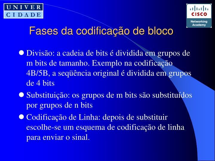 Fases da codificação de bloco