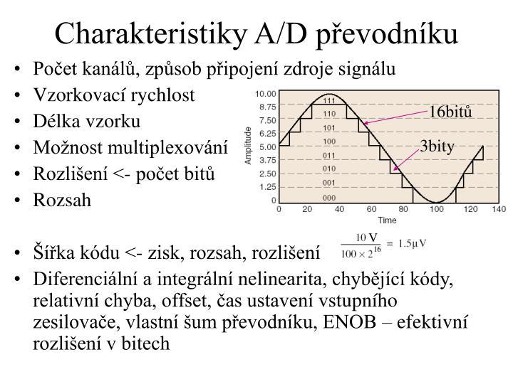 Charakteristiky A/D převodníku
